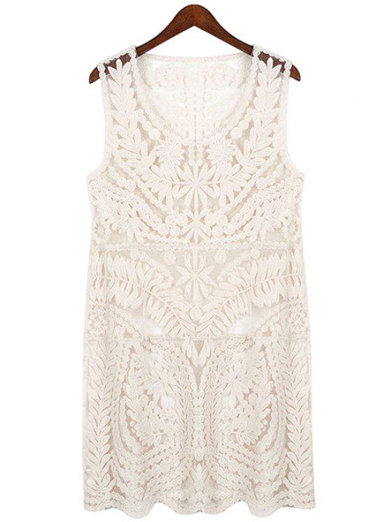 trendy Openwork Lace Sleeveless Dress - OFF-WHITE ONE SIZE(FIT SIZE XS TO M)