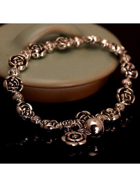 affordable Retro Flower Beads Design Bracelet For Women - GOLDEN