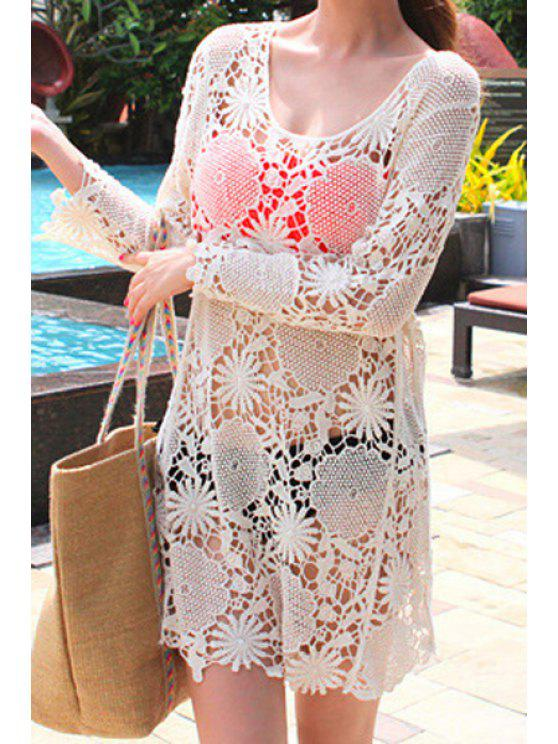 affordable Scoop Neck Openwork Dress - OFF-WHITE ONE SIZE(FIT SIZE XS TO M)