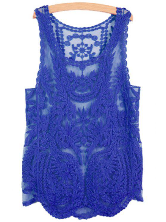 unique Leaves Pattern See-Through Sleeveless Tank Top - DEEP BLUE S