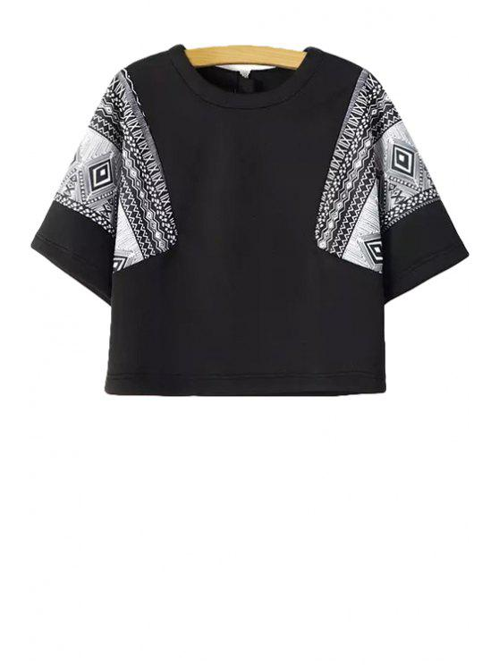 online Ethnic Print Short Sleeve T-Shirt - BLACK S