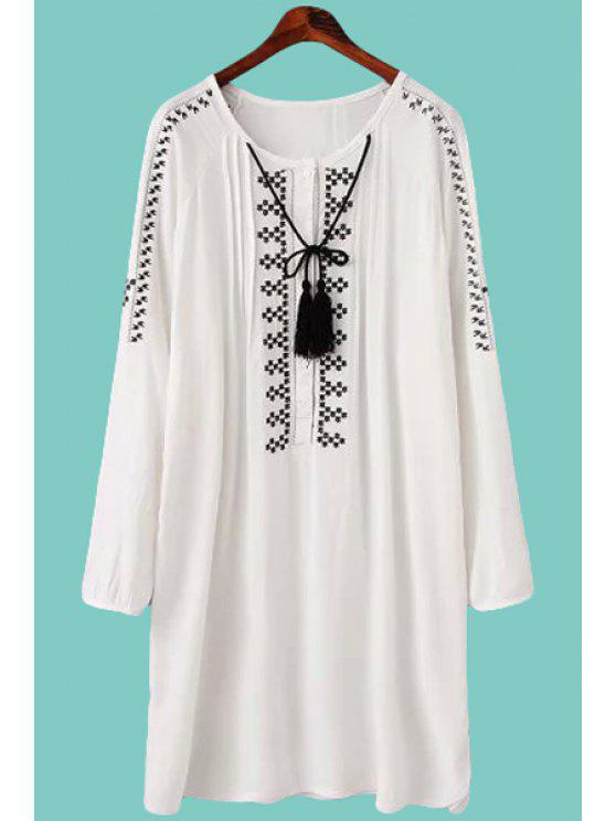 latest Embroidery Long Sleeve Dress - WHITE L