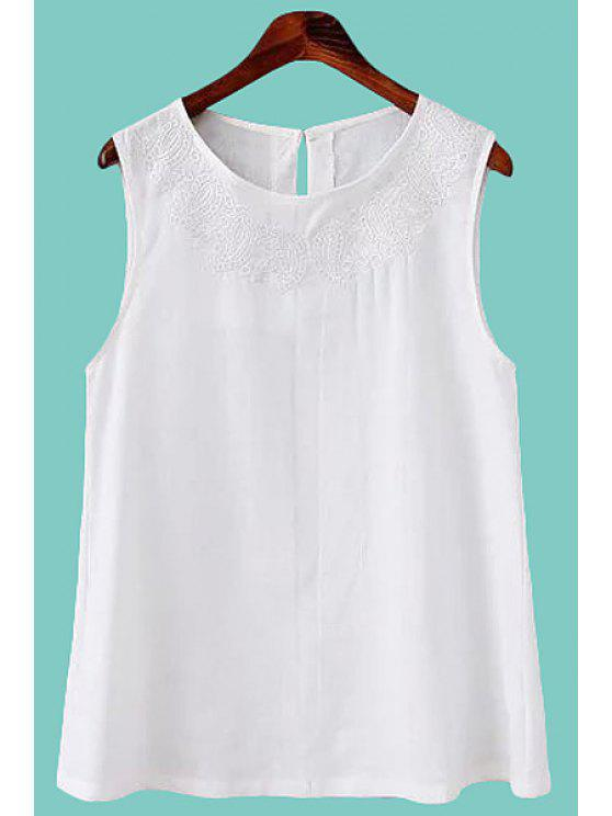shop White Embroidery Tank Top - WHITE S