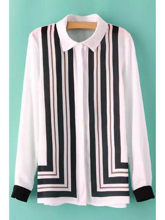 women Striped Long Sleeve Chiffon Shirt - WHITE AND BLACK S