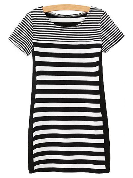 trendy Stripes Spliced Short Sleeve Dress - STRIPE S