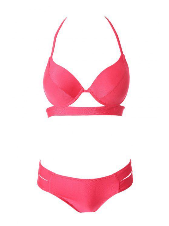 outfits Bandage Splicing Bikini Set - RED M
