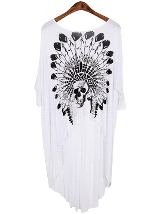 new Skull Feather Print Asymmetrical 3/4 Sleeve T-Shirt - WHITE ONE SIZE(FIT SIZE XS TO M)