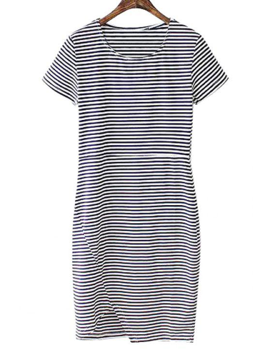 trendy Striped Short Sleeve Slimming Dress - STRIPE S