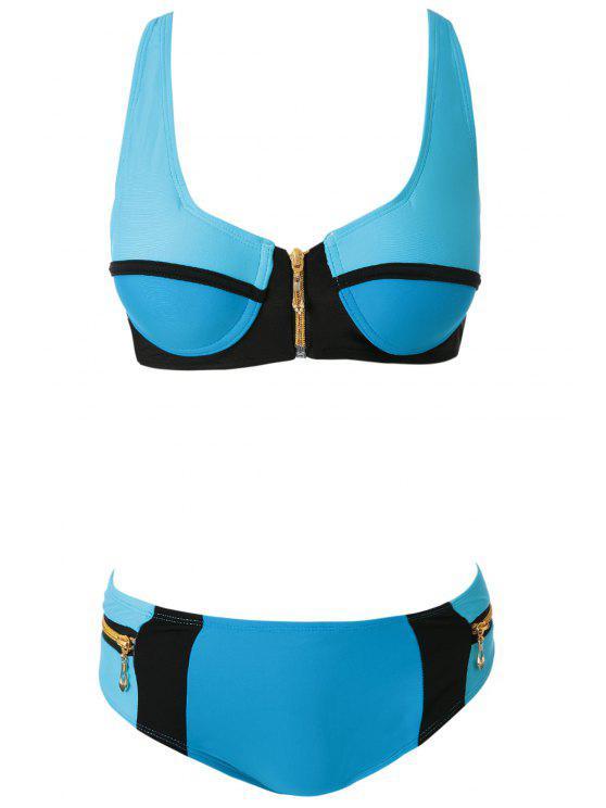 hot Zippers Color Block Bikini Set - LAKE BLUE S