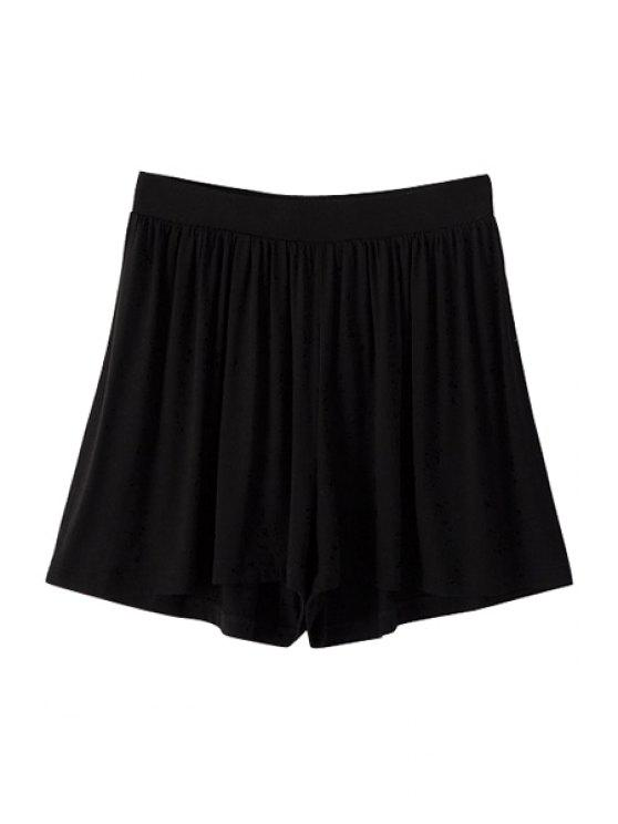latest Solid Color Elastic Waisted Pantskirt - BLACK L