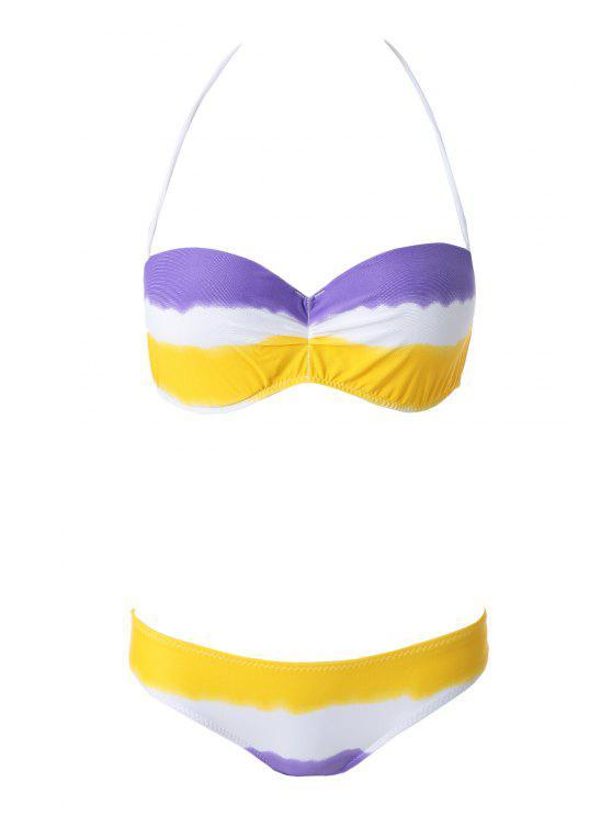 Colorida impresión sin tirantes del bikini Set - Púrpura L