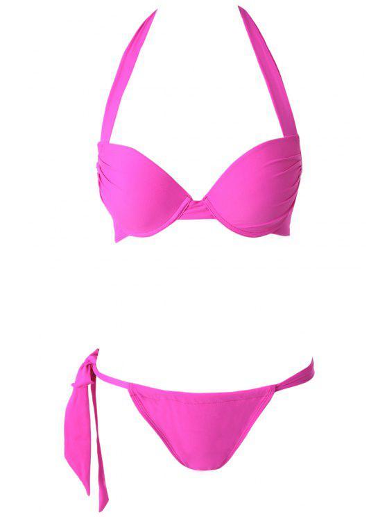 women Solid Color Push-Up Halter Bikini Set - PLUM S