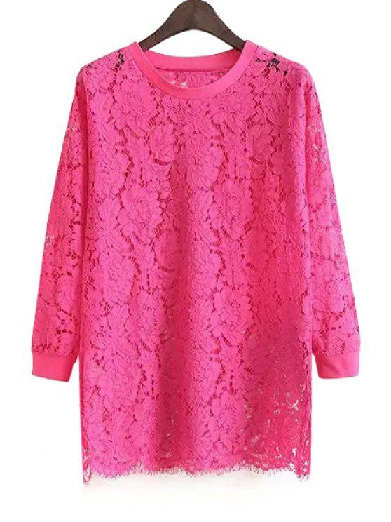 lady Solid Color Lace Long Sleeves Blouse - PLUM S