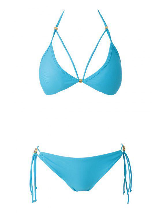 outfits Blue Halter Lace-Up Bikini Set - LAKE BLUE S