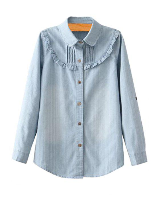 outfits Ruffled Denim Long Sleeve Shirt - LIGHT BLUE S