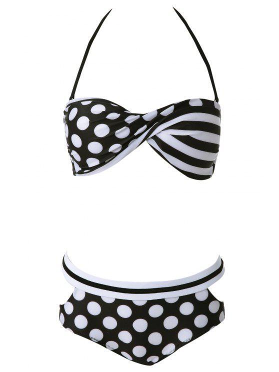 online Halter Polka Dot Bikini Set - WHITE M