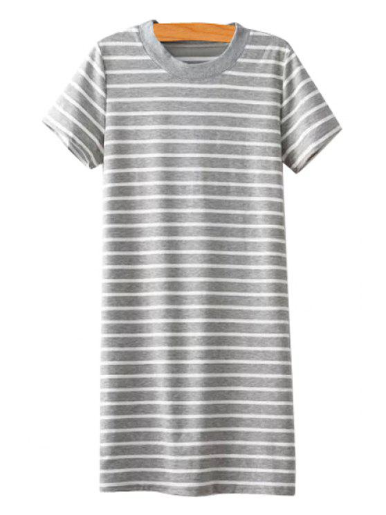 fancy Striped Short Sleeves Straight Dress - GRAY ONE SIZE(FIT SIZE XS TO M)