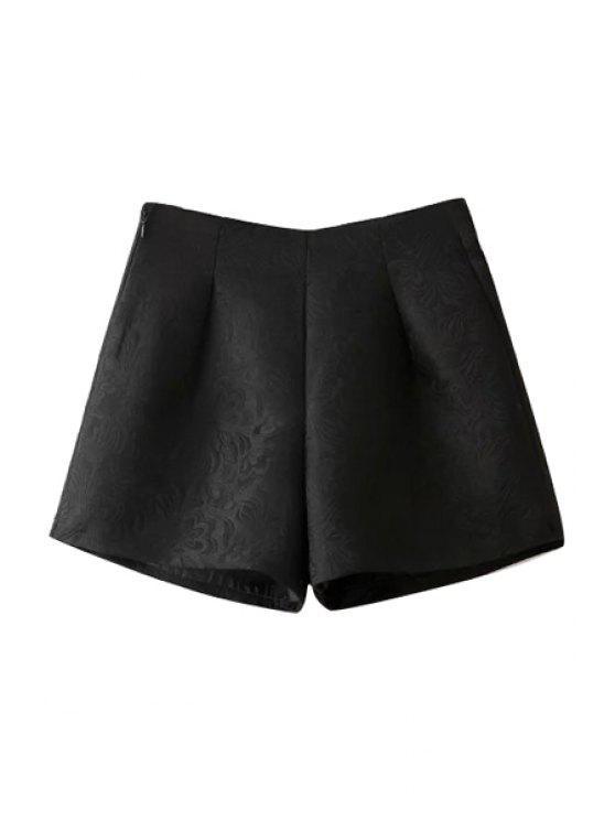 women's Wide Leg Solid Color Shorts - BLACK L