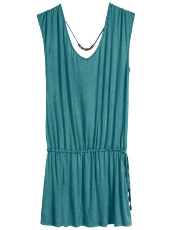 buy Solid Color V-Neck Elastic Waisted Dress - CADETBLUE ONE SIZE(FIT SIZE XS TO M)