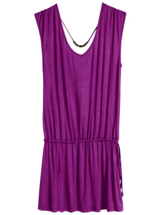 women Solid Color V-Neck Elastic Waisted Dress - VIOLET ONE SIZE(FIT SIZE XS TO M)