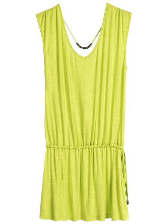 online Solid Color V-Neck Elastic Waisted Dress - GRASS GREEN ONE SIZE(FIT SIZE XS TO M)