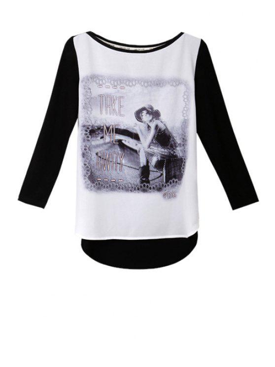 buy Letter Girl Print Asymmetrical T-Shirt - WHITE AND BLACK S