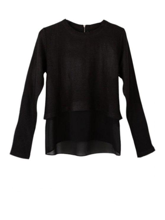 affordable Solid Color Double Layered T-Shirt - BLACK S