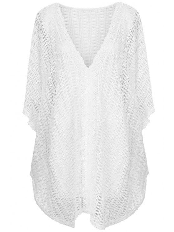 chic White Hollow Bat-Wing Sleeve Blouse - WHITE ONE SIZE(FIT SIZE XS TO M)