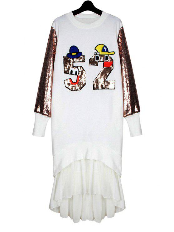 affordable Letter Pattern Sequins Splicing Dress - WHITE ONE SIZE(FIT SIZE XS TO M)