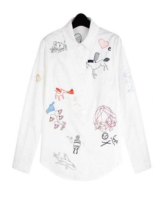 trendy Scrawl Embroidery Long Sleeve Shirt - WHITE ONE SIZE(FIT SIZE XS TO M)