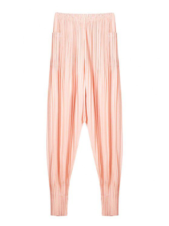 outfit Solid Color Ruffle Elastic Waist Pants - PINK ONE SIZE(FIT SIZE XS TO M)