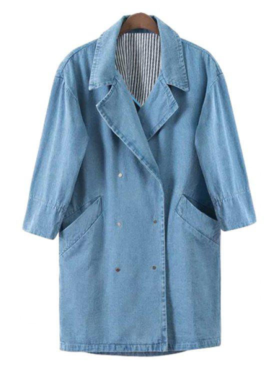 lady Blue Denim Half Sleeve Coat - BLUE S