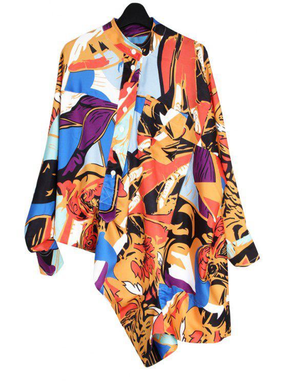 buy Color Block Print Asymmetrical Shirt - YELLOW S