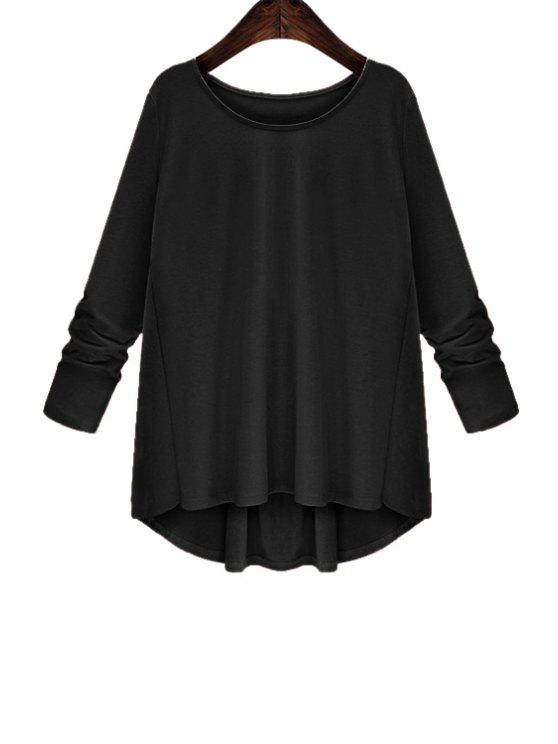 unique Back Bowknot Splicing Asymmetrical T-Shirt - BLACK S