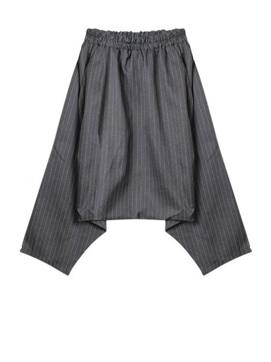 trendy Stripe Elastic Waist Harem Pants - GRAY ONE SIZE(FIT SIZE XS TO M)