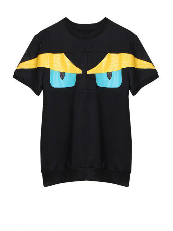 women's Eyes Pattern Short Sleeve Sweatshirt - BLUE ONE SIZE(FIT SIZE XS TO M)