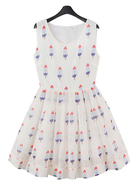 ladies Ice-Cream Print A-Line Sundress - WHITE S