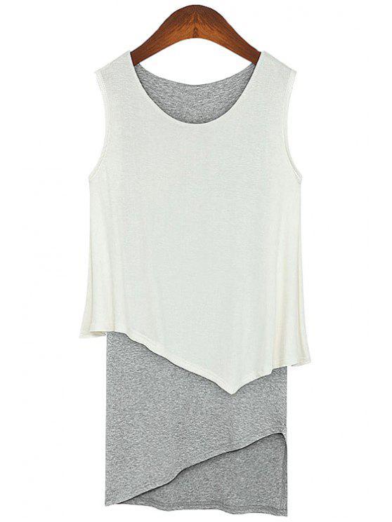 chic Color Block Faux Twinset Sundress - WHITE M