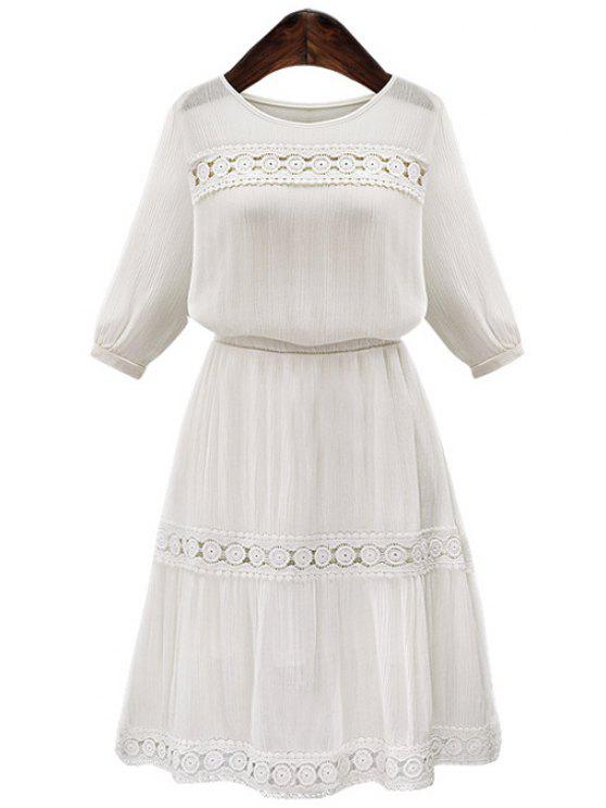 shop Embroidery 3/4 Sleeve Chiffon Dress - WHITE S