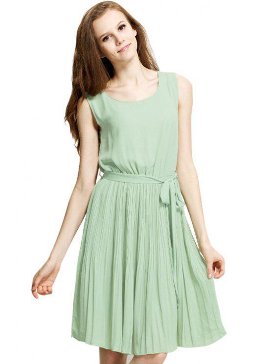 women's Green Pleated Sleeveless Chiffon Dress - GREEN S