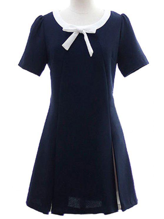 latest Color Block Bowknot Short Sleeves Dress - PURPLISH BLUE S