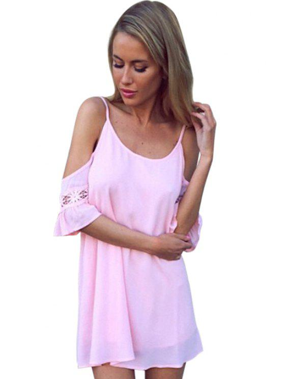 lady Spaghetti Strap Solid Cross Color Backless Dress - PINK L