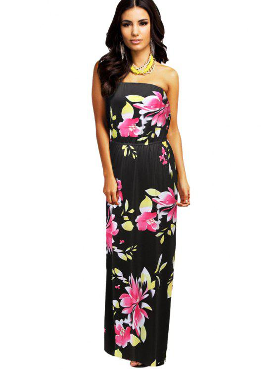 latest Strapless Floral Print Sleeveless Dress - BLACK L