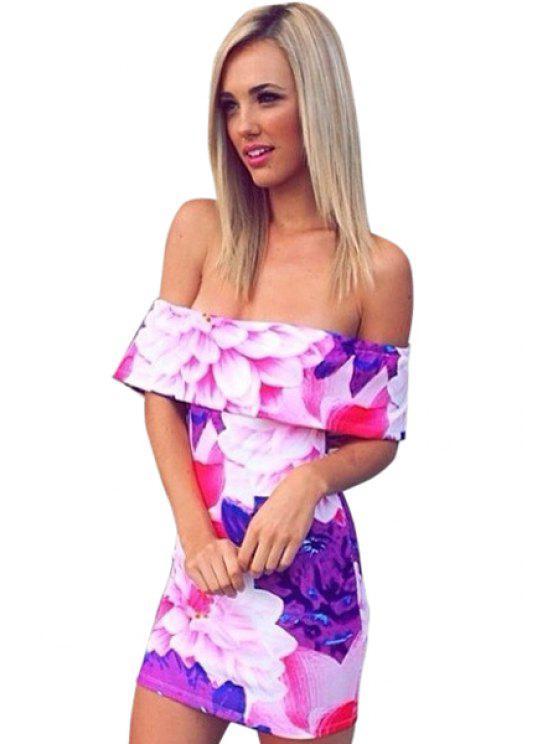 affordable Slash Neck Floral Print Backless Dress - VIOLET ROSE S