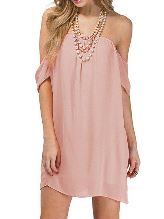 women Strapless Solid Color Backless Dress - PINK XS