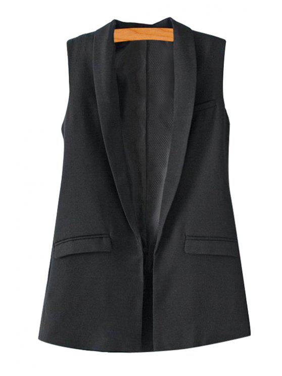 ladies Solid Color Turn-Down Collar Waistcoat - BLACK L