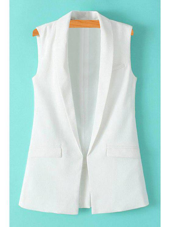 online Solid Color Turn-Down Collar Waistcoat - WHITE L