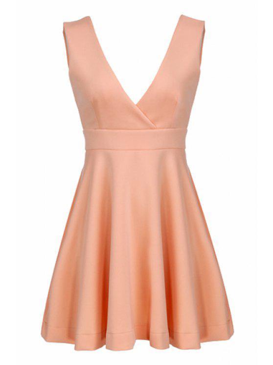 shops Orange Plunging Neck Sleeveless Dress - ORANGE S