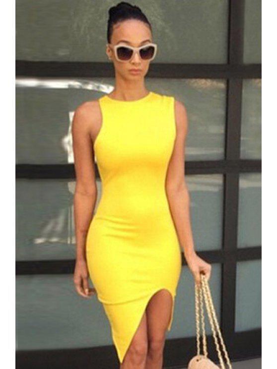 women Yellow Slit Sleeveless Bodycon Dress - YELLOW S
