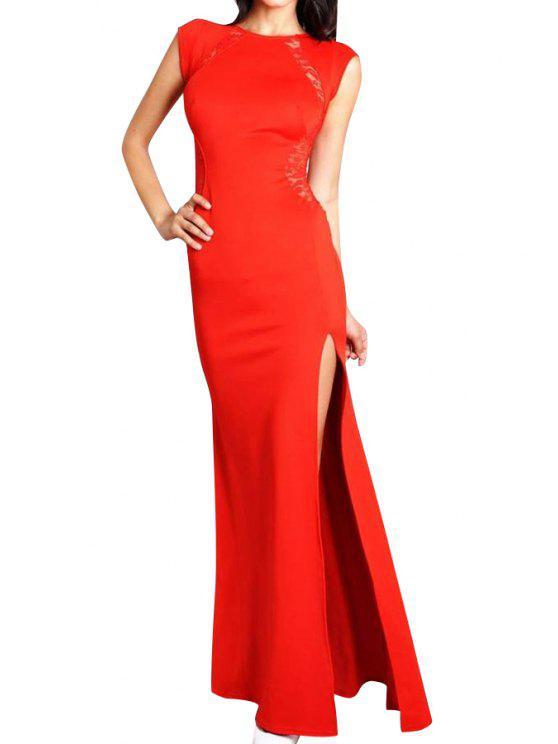 women Lace Splicing Side Slit Short Sleeve Dress - RED 2XL